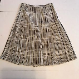 Vince Pleated Skirt Blurred Lines Geometric Print
